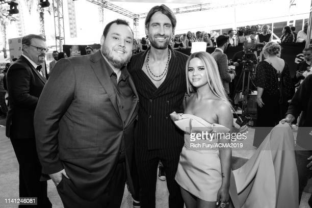Luke Combs Ryan Hurd and Maren Morris attend the 54th Academy Of Country Music Awards at MGM Grand Garden Arena on April 07 2019 in Las Vegas Nevada