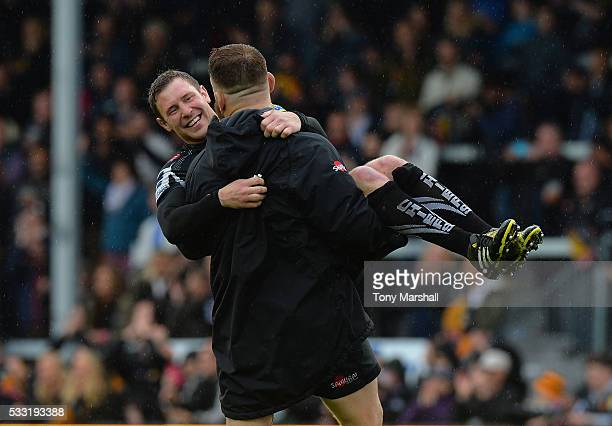 Luke CowanDickie and Will Chudley of Exeter Chiefs celebrate reaching the Aviva Premiership Final at the end of the Aviva Premiership semi final...