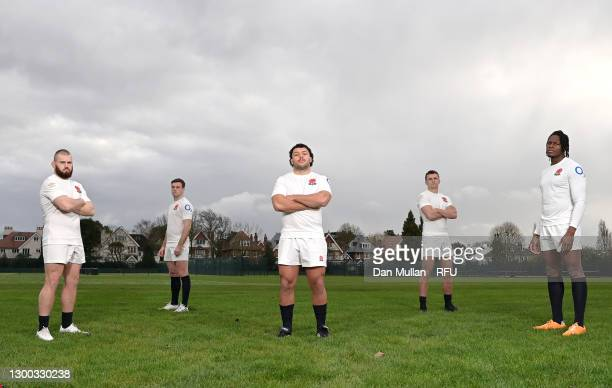 Luke Cowan-Dickie, George Ford, Ellis Genge, Henry Slade and Maro Itoje of England pose in the 150th Anniversary Heritage Kit created by Umbro at The...