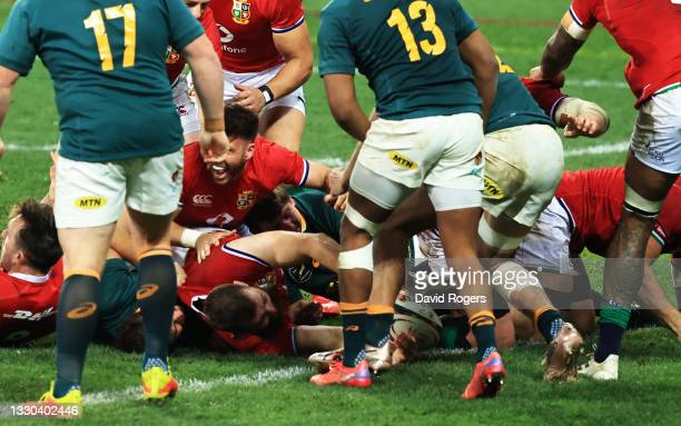 Luke Cowan-Dickie of British & Irish Lions stretches over to score their side's first try during the 1st Test between South Africa & British & Irish...