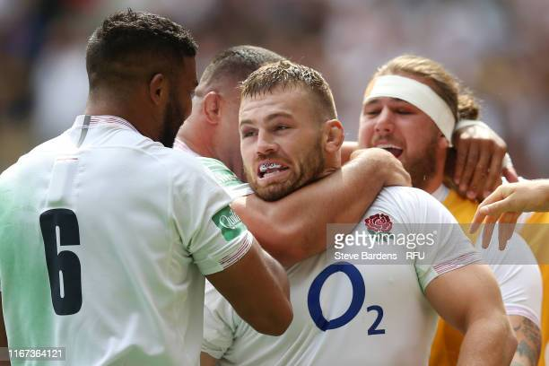 Luke Cowan-Dickie of England celebrates with team mates after scoring his team's third try during the 2019 Quilter International match between...