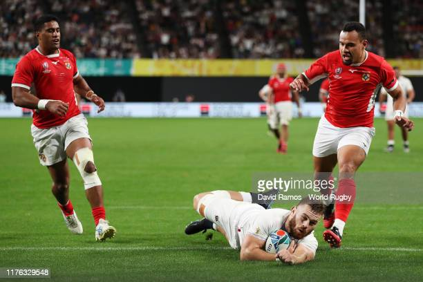 Luke Cowan-Dickie of England scores his side's fourth try during the Rugby World Cup 2019 Group C game between England and Tonga at Sapporo Dome on...