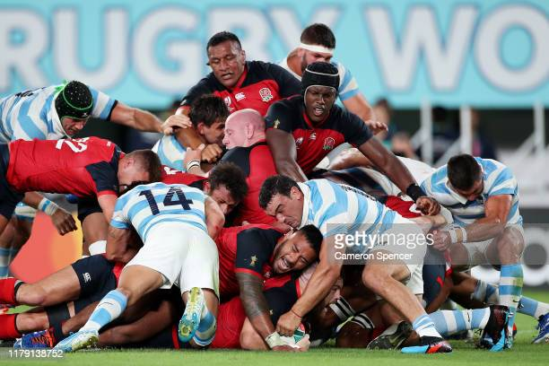 Luke Cowan-Dickie of England scores his side's sixth try during the Rugby World Cup 2019 Group C game between England and Argentina at Tokyo Stadium...