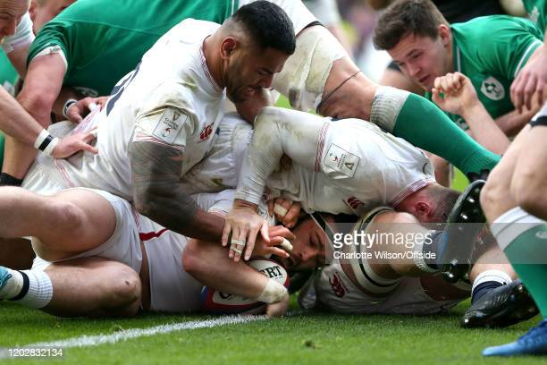 Luke Cowan-Dickie of England scores their 3rd try during the 2020 Guinness Six Nations match between England and Ireland at Twickenham Stadium on...