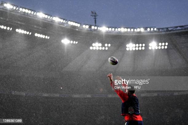 Luke Cowan-Dickie of England throws in at a lineout during a training session at Twickenham Stadium on December 03, 2020 in London, England.