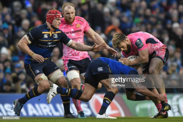 Luke CowanDickie of Exeter tackled by Leinster's Isa Nacewa during Leinster vs Exeter Chiefs the European Rugby Champions Cup rugby match at Aviva...