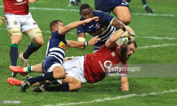 Luke Cowan-Dickie of the British & Irish Lions dives over to score their second try during the match between the DHL Stormers and the British & Irish...