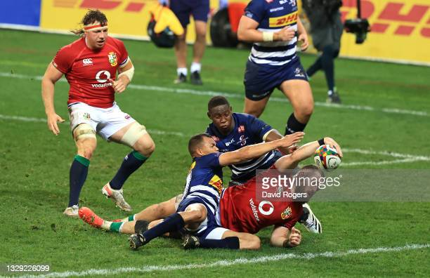 Luke Cowan-Dickie of the British & Irish Lions scores the second try during the match between DHL Stormers and British & Irish Lions at Cape Town...