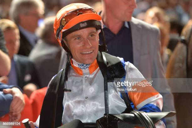 Luke Currie after riding Hey Doc to win the Ladbrokes Manikato Stakes at Moonee Valley Racecourse on October 27 2017 in Moonee Ponds Australia