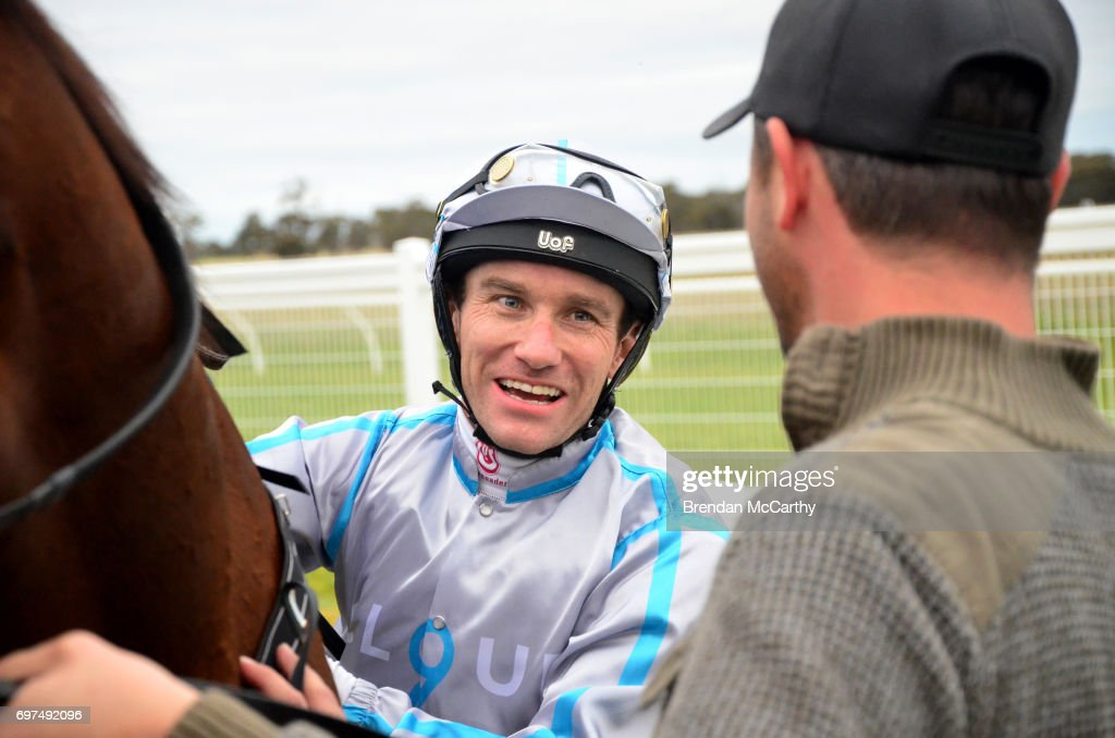 Luke Currie after winning the Mogas Regional BM58 Handicap at Donald Racecourse on June 19, 2017 in Donald, Australia.