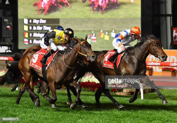 Luke Currie riding Hey Doc defeats Corey Brown riding In Her Time in Race 7 Ladbrokes Manikato Stakes during Manikato Stakes Night at Moonee Valley...