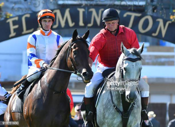 Luke Currie riding Hey Doc in Race 8 Black Caviar Lightning during Melbourne Racing at Flemington Racecourse on February 17 2018 in Melbourne...