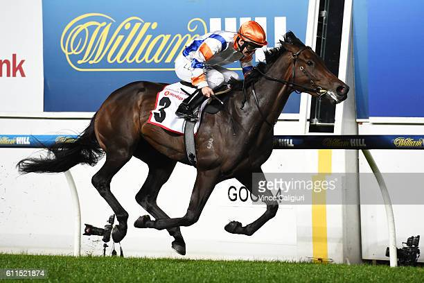 Luke Currie riding Hey Doc wins Race 5 Strathmore Community Bank Stutt Stakes during Melbourne racing at Moonee Valley Racecourse on September 30...