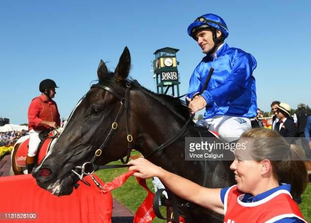 Luke Currie riding Lyre after winning Race 7 Ladbrokes Blue Diamond Stakes during the Blue Diamond Stakes Day at Caulfield Racecourse on February 23...
