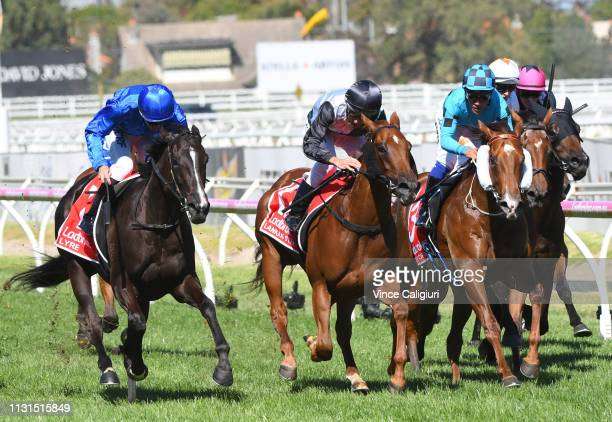 Luke Currie riding Lyre defeats Lankan Star in Race 7 Ladbrokes Blue Diamond Stakes during the Blue Diamond Stakes Day at Caulfield Racecourse on...