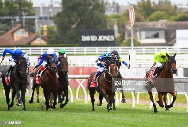 Luke Currie riding Manuel winning Race 8 Ladbrokes CF Orr Stakes during Melbourne Racing at Caulfield Racecourse on February 09 2019 in Melbourne...