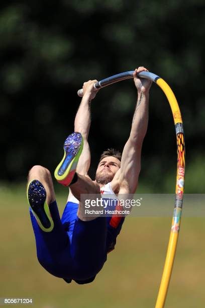Luke Cutts compeates in the men's pole vault final during the British Athletics World Championships Team Trials at Birmingham Alexander Stadium on...