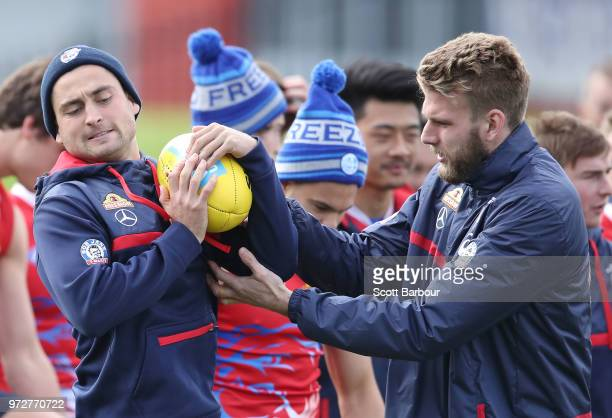Luke Dahlhaus of the Bulldogs and Jackson Trengove of the Bulldogs compete for the ball during a Western Bulldogs AFL training session at Whitten...