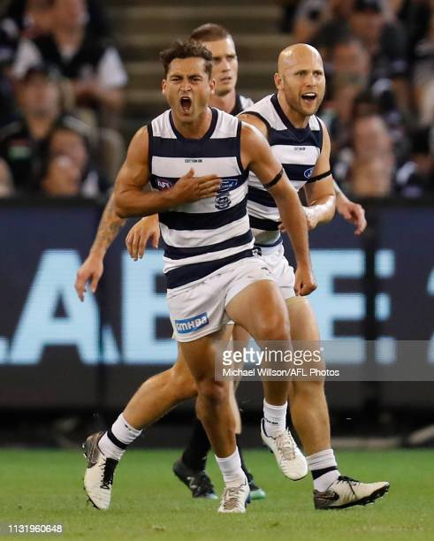 Luke Dahlhaus of the Cats celebrates during the 2019 AFL round 01 match between the Collingwood Magpies and the Geelong Cats at the Melbourne Cricket...