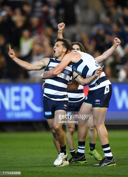 Luke Dahlhaus of the Cats celebrates kicking a goal during the AFL Semi Final match between the Geelong Cats and the West Coast Eagles at the...