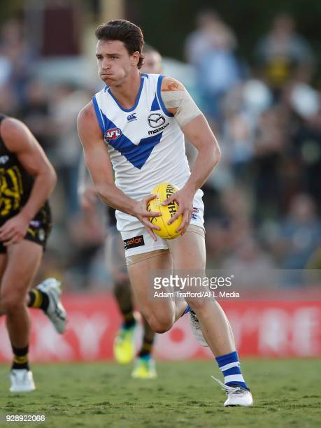 Luke DaviesUniacke of the Kangaroos in action during the AFL 2018 JLT Community Series match between the Richmond Tigers and the North Melbourne...