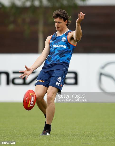 Luke DaviesUniacke of the Kangaroos in action during the North Melbourne Kangaroos training session at Arden St on December 4 2017 in Melbourne...