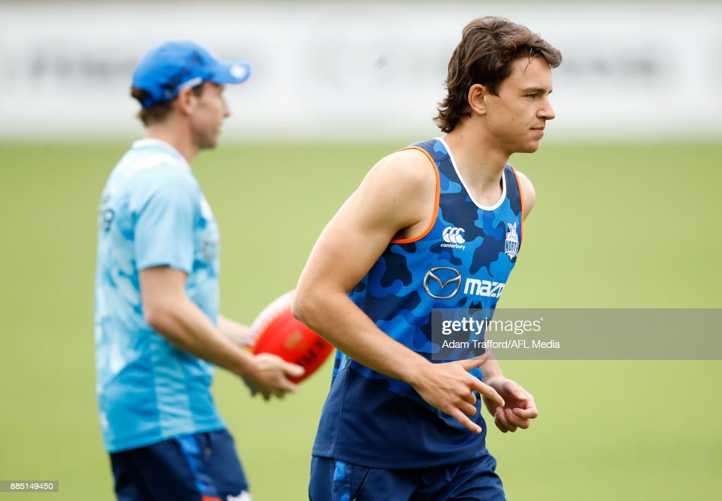 Luke Davies-Uniacke of the Kangaroos in action during the North Melbourne Kangaroos training session at Arden St on December 4, 2017 in Melbourne, Australia.