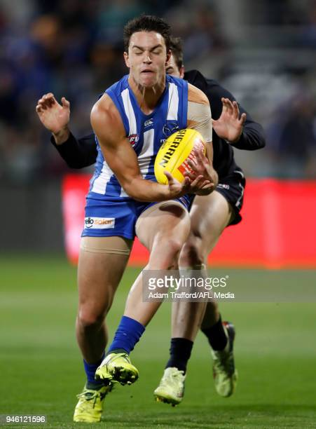 Luke DaviesUniacke of the Kangaroos marks the ball ahead of Lachie Plowman of the Blues during the 2018 AFL Round 04 match between the North...