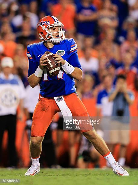 Luke Del Rio of the Florida Gators in action during the first half of the game against the North Texas Mean Green at Ben Hill Griffin Stadium on...
