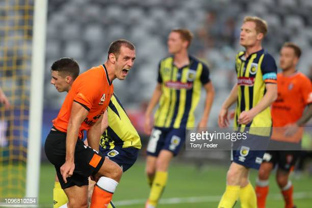 Luke Devere of Brisbane Roar celebrates a goal during the round 14 A-League match between the Central Coast Mariners and the Brisbane Roar at Central...