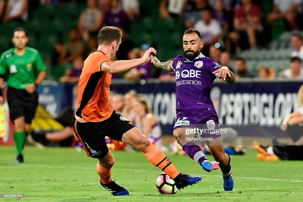 Luke Devere of the Roar and Diego Castro of the Glory compete for the ball during the round 20 A-League match between Perth Glory and Brisbane Roar at nib Stadium on February 18, 2017 in Perth, Australia.