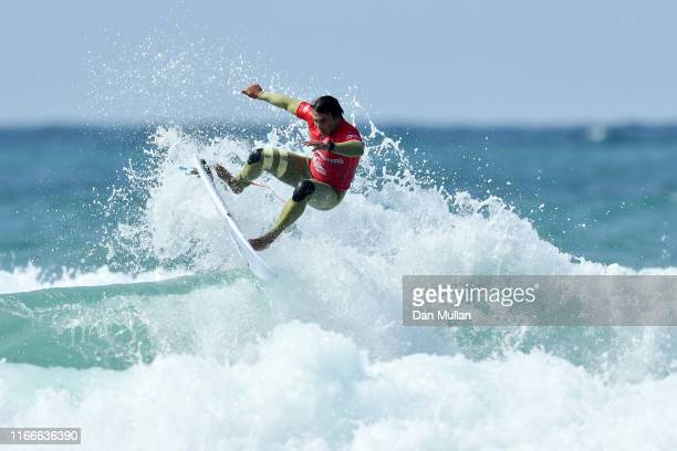 Luke Dillon of Great Britain competes in the third round of the Quiksilver Open during day one of the Boardmasters 2019 Surf Festival at Fistral...