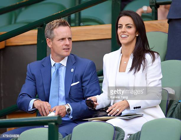 Luke Donald and wife Diane Antonopoulos attend day six of the Wimbledon Tennis Championships at Wimbledon on July 4 2015 in London England