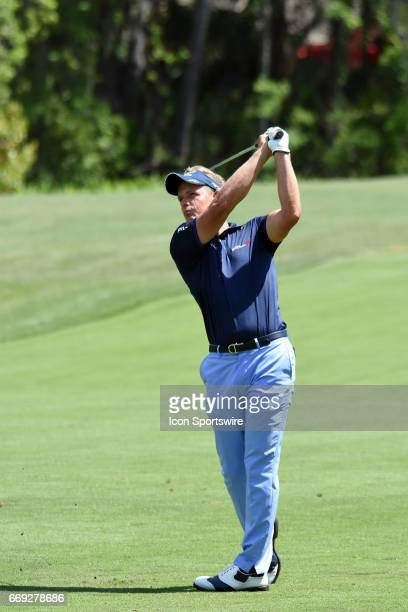Luke Donald during the final round of the RBC Heritage Presented by Boeing Golf Tournament on April 16 at Harbour Town Golf Links in Hilton Head...