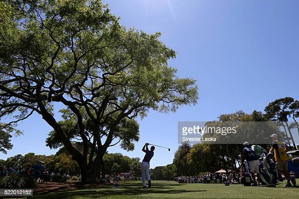 Luke Donald hits his tee shot on the third hole during the final round of the 2016 RBC Heritage at Harbour Town Golf Links on April 17, 2016 in...
