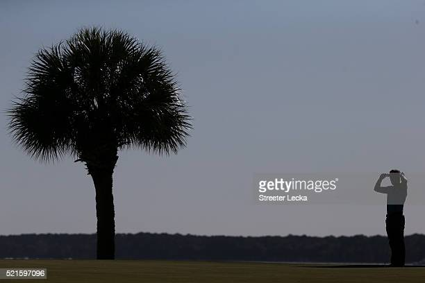 Luke Donald of Engand stands on the 17th green during the third round of the 2016 RBC Heritage at Harbour Town Golf Links on April 16 2016 in Hilton...