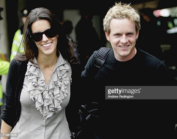 Luke Donald of England and his fiancee Diane Antonopoulos arrive as some of the victorious European Ryder Cup team gather at Dublin airport on...