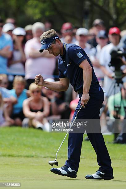 Luke Donald of England celebrates a birdie on the 7th hole during the final round of the BMW PGA Championship on the West Course at Wentworth on May...