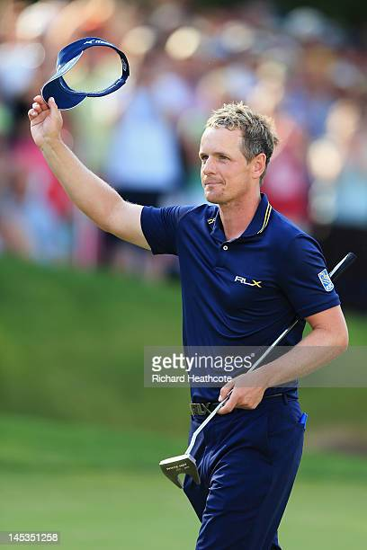 Luke Donald of England celebrates his win on the 18th green during the final round of the BMW PGA Championship on the West Course at Wentworth on May...