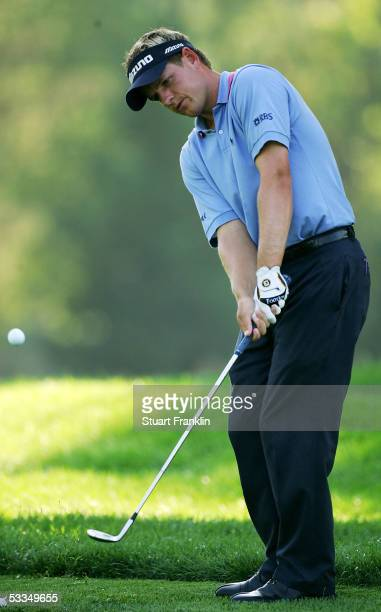 Luke Donald of England hits a chip shot during the third practice round of the 2005 PGA Championship at Baltusrol Golf Club on August 10, 2005 in...