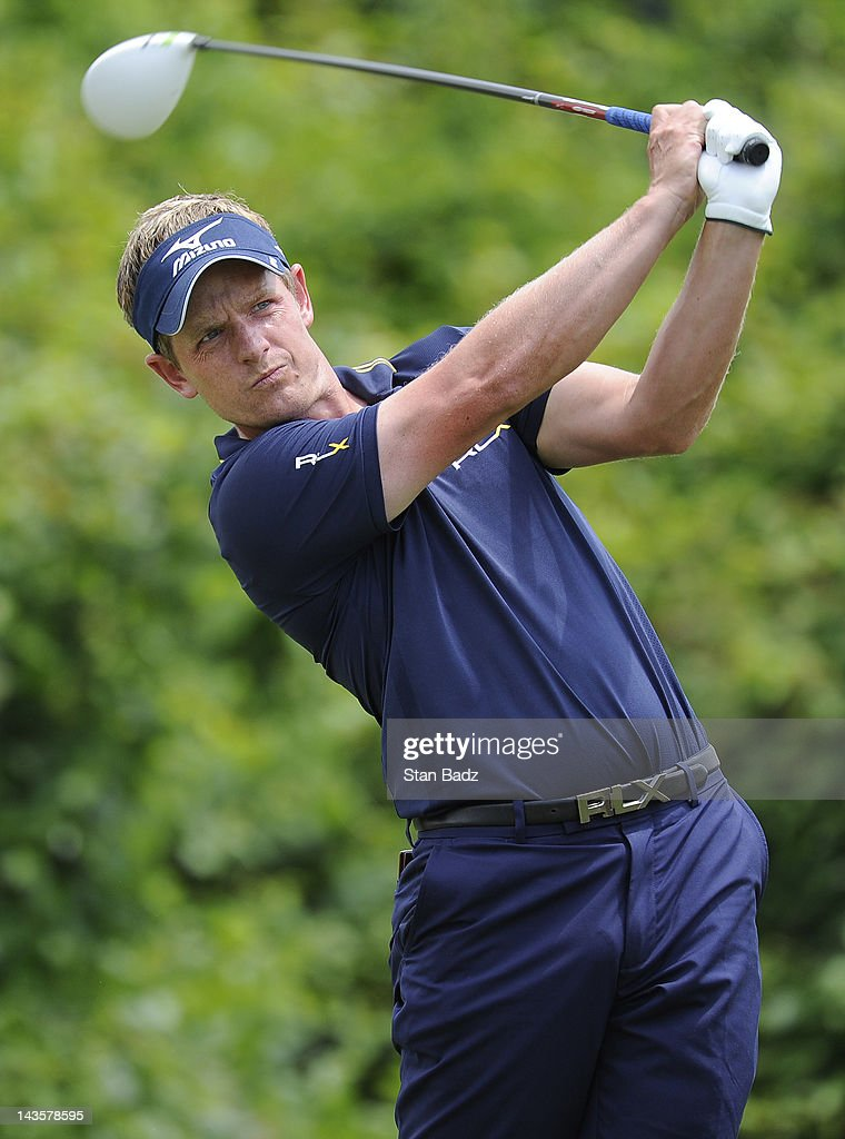 Luke Donald of England hits a drive on the second hole during the final round of the Zurich Classic of New Orleans at TPC Louisiana on April 29, 2012 in New Orleans, Louisiana.