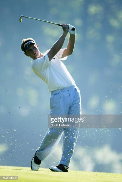 Luke Donald of England hits a shot on the 11th hole during the second round of the Wachovia Championship at the Quail Hollow Club on May 7, 2004 in...