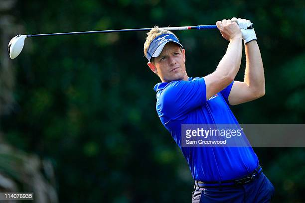 Luke Donald of England hits a tee shot during a practice round prior to the start of THE PLAYERS Championship held at THE PLAYERS Stadium course at...