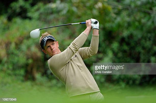 Luke Donald of England hits from the 12th tee during the second round of the Northern Trust Open at Riviera Country Club on February 18, 2011 in...