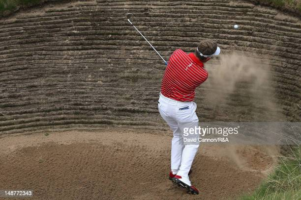 Luke Donald of England hits his 3rd shot on the 7th hole during the first round of the 141st Open Championship at Royal Lytham St Annes Golf Club on...
