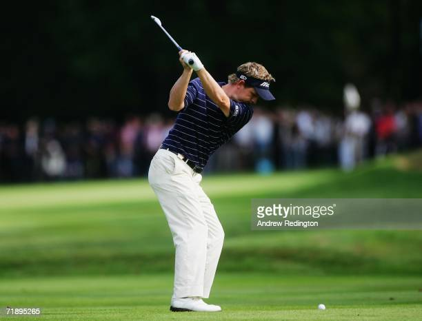 Luke Donald of England hits his second shot on the 15th hole during the Second Round of the HSBC World Matchplay Championship at The Wentworth Club...