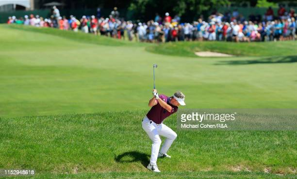 Luke Donald of England hits his second shot on the seventh hole during The Open Qualifying Series, part of the Rocket Mortgage Classic at Detroit...