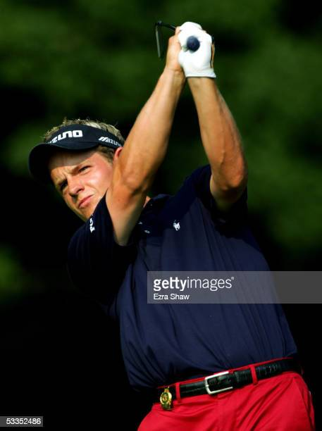 Luke Donald of England hits his tee shot on the 12th hole during the first round of the 2005 PGA Championship at Baltusrol Golf Club August 11, 2005...