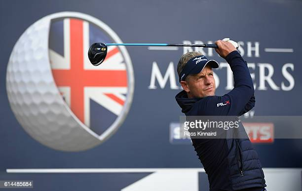 Luke Donald of England hits his tee shot on the 15th hole during the second round of the British Masters at The Grove on October 14, 2016 in Watford,...