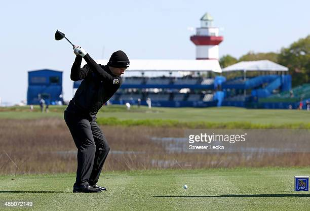 Luke Donald of England hits his tee shot on the 18th hole during the RBC Heritage ProAm at Harbour Town Golf Links on April 16 2014 in Hilton Head...